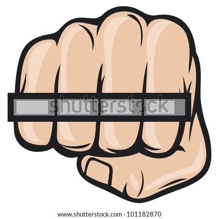 brass knuckle fist - stock photo