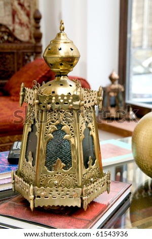 Brass lantern - stock photo