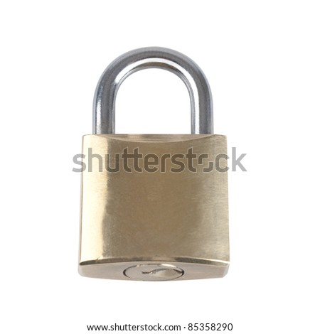 Brass Lock isolated on white background