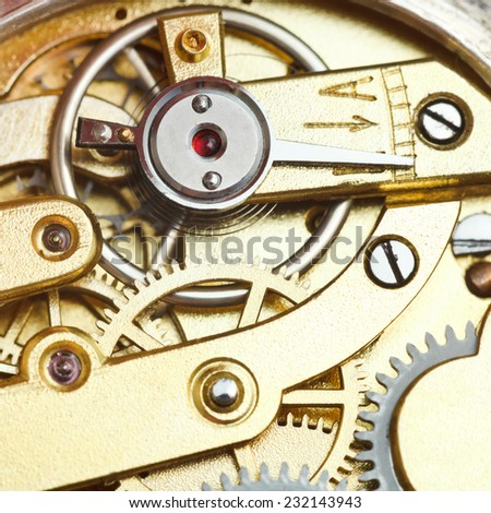 brass mechanical clockwork of retro watch close up