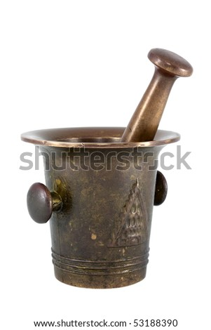 Brass mortar and pestle isolated on white background. - stock photo