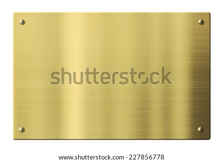 Brass or gold metal plate isolated with clipping path - stock photo
