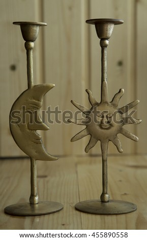 brass ornament sun and moon  - stock photo