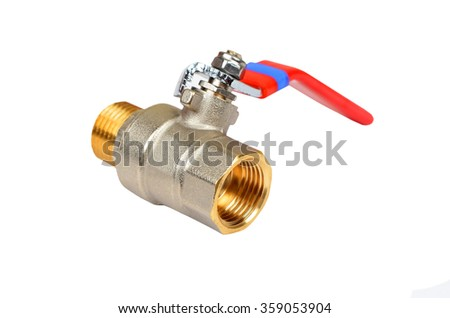 Brass plumbing tap, isolated on white background - stock photo