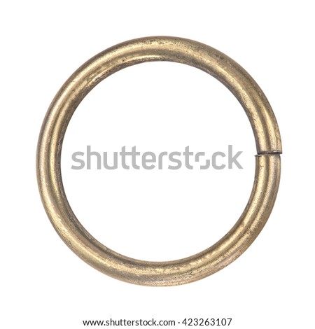 brass ring handmade on isolated white background