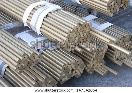 brass rods - stock photo