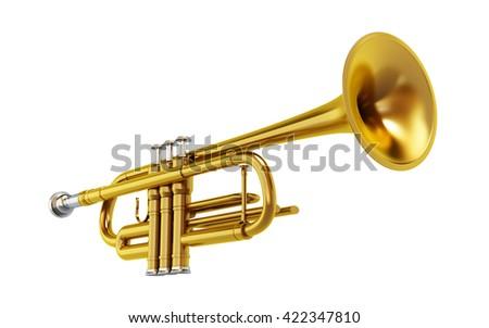 Brass shiny trombone isolated on white background. 3D illustration. - stock photo