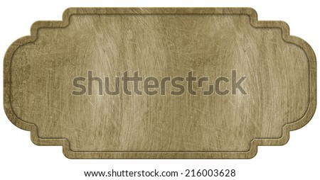 Brass sign, isolated on white background