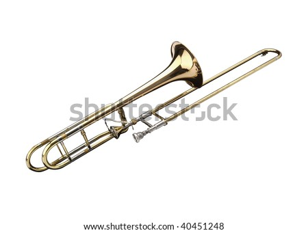 Brass slide trombone on a white background - stock photo