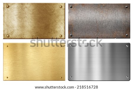 brass, steel, aluminum metal plates set isolated on white - stock photo