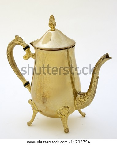 brass tea-pot isolated in white