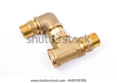 Brass water-pipe isolated on white background