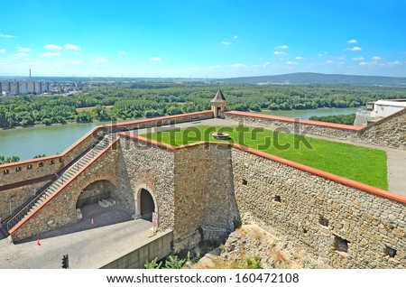 BRATISLAVA - AUGUST 1: Bratislava Castle on August 1, 2013 in Bratislava, Slovakia. Castle been built on a hill and overlooks the whole city. First written reference from 907. - stock photo