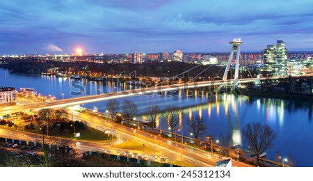 Bratislava bridge and Danube - stock photo