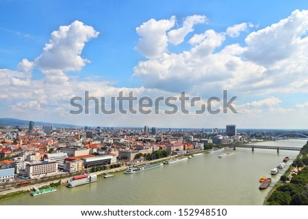 Bratislava, capital city of Slovakia. Cityscape with Danube river. - stock photo
