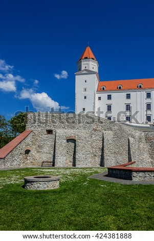 Bratislava Castle (Bratislavsky hrad) - main castle of Bratislava, capital of Slovakia. Rectangular building with four corner towers stands on hill of Little Carpathians directly above Danube River.
