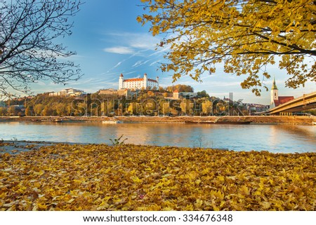 Bratislava castle,cathedral and parliament over Danube river in Brastislava city,Slovakia - stock photo