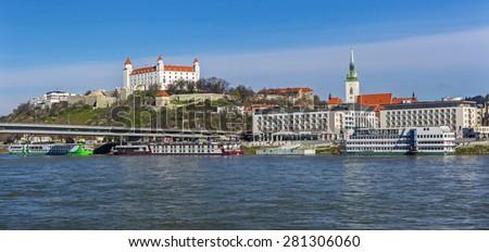BRATISLAVA CASTLE,SLOvAKIA-APRIL 6,2015: View on Bratislava castle, river Danube and Bratislava city - stock photo