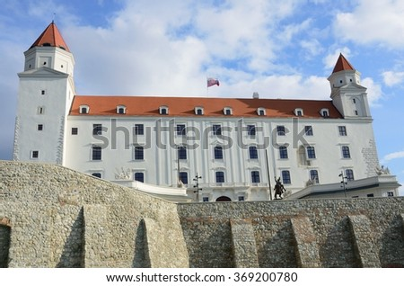 Bratislava Castle with wall - stock photo
