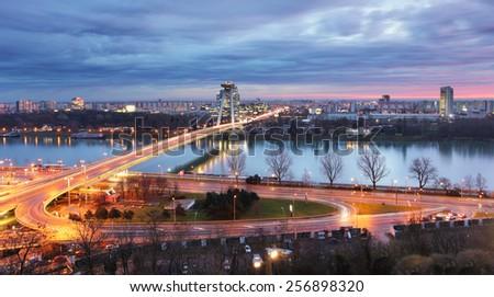 Bratislava cityscape at night - stock photo