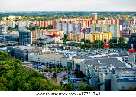 Bratislava cityscape view on the residential district with shopping center from the modern bridge in Slovakia