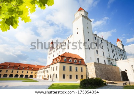 Bratislava main white castle building on sunny day, Slovakia - stock photo