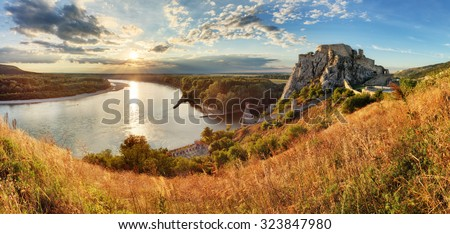 Bratislava, ruin of castle Devin, Slovakia - stock photo