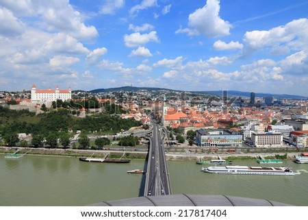 BRATISLAVA, SLOVAKIA - AUGUST 9, 2012: Cityscape view in Bratislava, Slovakia. Bratislava is the most populous (462,000) and most visited city in Slovakia. - stock photo