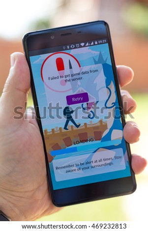 Bratislava, Slovakia - August 16, 2016 : Pokemon Go game failing to get data from server