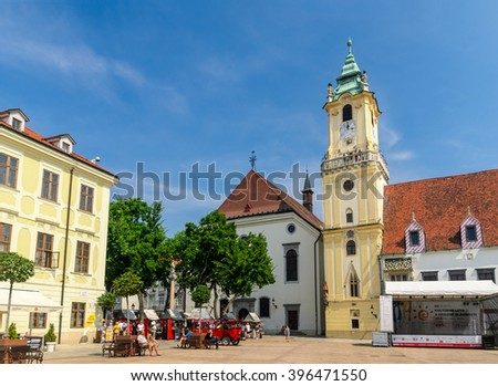 BRATISLAVA, SLOVAKIA- AUGUST 16: The Old Town Hall at the Main Square of Bratislava is the oldest City Hall in Slovakia, August 16, 2015 in Bratislava, Slovakia.