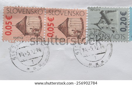 BRATISLAVA, SLOVAKIA - CIRCA AUGUST 2012: Letter envelope with Slovak stamps from Slovakia - stock photo
