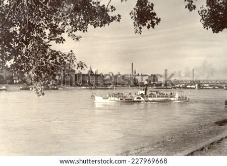 Bratislava, Slovakia, - CIRCA 1969: view on a Danube river - stock photo