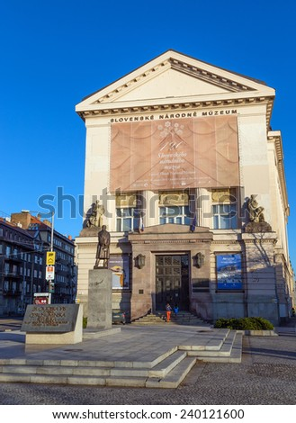 BRATISLAVA, SLOVAKIA - DECEMBER 27: Slovak National Museum on December 27, 2013 in Bratislava. It is the most important institution focusing on scientific research and cultural education in Slovakia. - stock photo