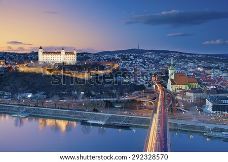 Bratislava, Slovakia. Image of Bratislava, the capital city of Slovakia during sunset. - stock photo