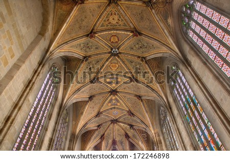 BRATISLAVA, SLOVAKIA - JANUARY 14, 2014: Fresco on gothic ceiling from presbytery of st. Martin cathedral.