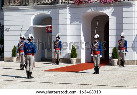 BRATISLAVA, SLOVAKIA - JULY 23: Change of a guard of honor at  Presidential palace in Bratislava, Slovakia, July 23, 2013. Bratislava is the most populous (462,000) and most visited city in Slovakia.