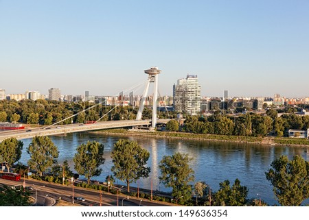 BRATISLAVA, SLOVAKIA - JULY 21:New bridge, Bratislava, Slovakia, July 21, 2013. It is the only bridge, not having any support in line with the Danube River and considered as the biggest in the city - stock photo