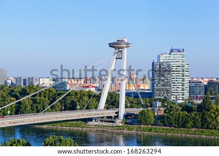 BRATISLAVA, SLOVAKIA - JULY 21:New bridge, Bratislava, Slovakia, July 21, 2013. It is the only bridge, not having any support in line with the Danube River and considered as the biggest in the city