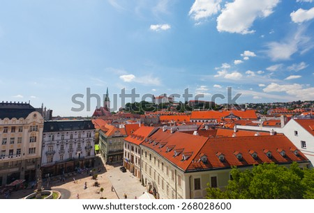 BRATISLAVA, SLOVAKIA-JULY 27, 2013:The top view on a central square. Bratislava is the only capital of the world which directly borders on two other states - Austria and Hungary. - stock photo