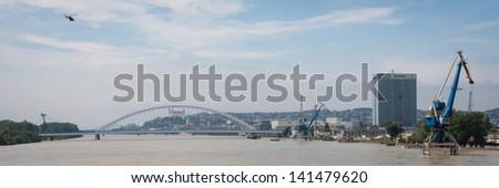 BRATISLAVA, SLOVAKIA - JUNE 6:  Cityscape of Bratislava from the Port Bridge above Danube river on June 6, 2013 in Bratislava - stock photo