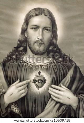 BRATISLAVA, SLOVAKIA - JUNE 6, 2007: Copy of typical catholic image of heart of Jesus Christ from Slovakia printed on 19. originally by unknown artist.  - stock photo
