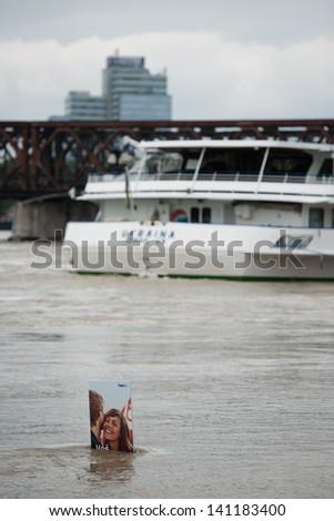 BRATISLAVA, SLOVAKIA - JUNE 5:  Rising water level of  Danube river on June 5, 2013 in Bratislava - stock photo