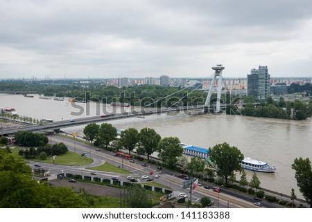 BRATISLAVA, SLOVAKIA - JUNE 5:  Rising water of Danube - view from Bratislava castle on June 5, 2013 in Bratislava - stock photo