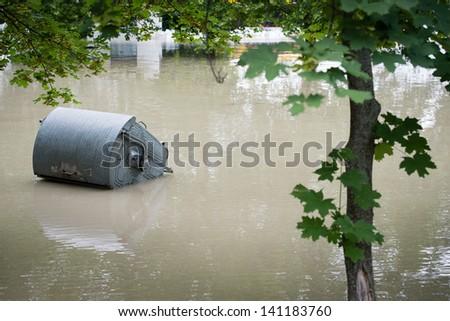 BRATISLAVA, SLOVAKIA - JUNE 5:  The water flooded whole Tyrsovo Embankment on the Petrzalka side of the Danube on June 5, 2013 in Bratislava - stock photo