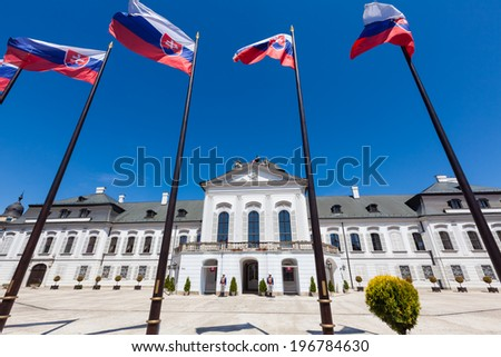 BRATISLAVA, SLOVAKIA - MAY 18, 2012: Guards stand in front of the Grassalkovich Palace in Bratislava, the residence of the president of Slovakia. - stock photo