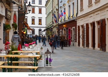 Bratislava, Slovakia - May 04, 2016: People in one of the main streets of the old town in Bratislava.
