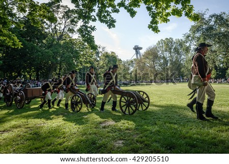 BRATISLAVA, SLOVAKIA - MAY 21: Reenactment of the Siege of Pressburg by Napoleon in 1809 at Bratislava, Slovakia on May 21, 2016