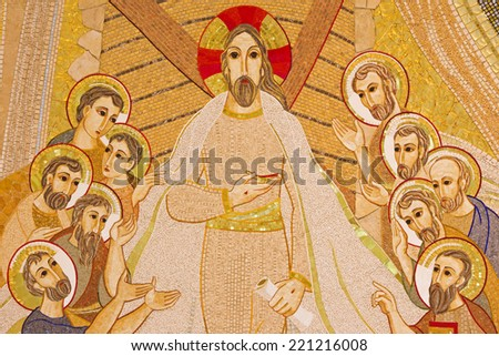 BRATISLAVA , SLOVAKIA - OCTOBER 1, 2014_ The mosaic of resurrected Christ among the apostles in the Saint Sebastian cathedral designed by jesuit Mar�ko Ivan Rupnik (2011). - stock photo
