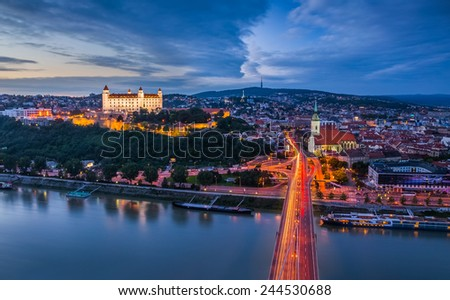Bratislava, Slovakia - Panoramic View with the Castle and Old Town as Seen from Observation Deck the Bridge - stock photo