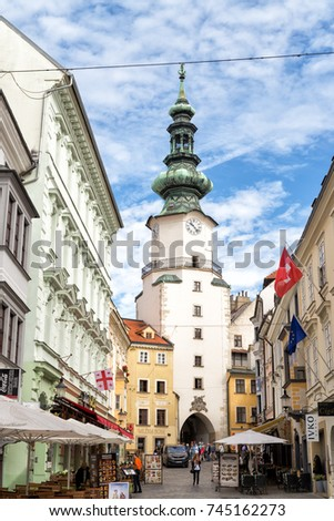 BRATISLAVA, SLOVAKIA - SEPTEMBER 12, 2017: Michael's Gate, in the center, is the only city gate that has been preserved of the medieval fortifications and is one of the oldest town buildings.